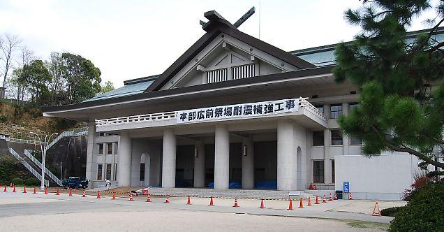 祭場屋根・天井耐震補強工事始まる