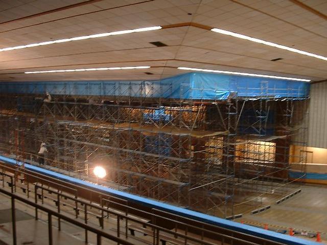 祭場屋根・天井耐震補強工事進捗状況 4月30日~5月11日